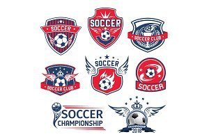 Vector icons for soccer club football championship