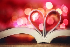 Book page decorate to heart shape