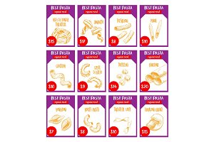 Vector pasta sketch price cards Italian restaurant