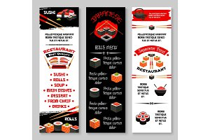 Vector menu banners for Japanese sushi restaurant