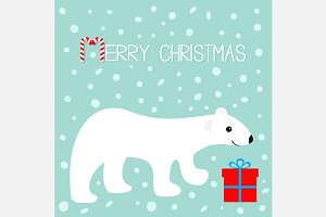 Merry Christmas Polar bear Gift box