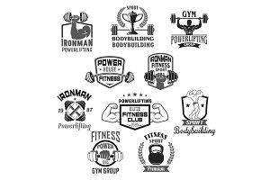 Bodybuilding gym or powerlifting club vector icons