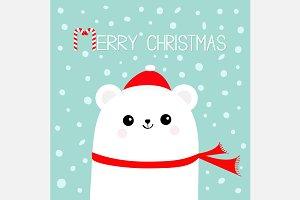 Merry Christmas Polar bear Santa hat