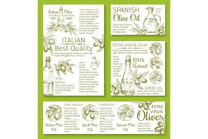 Olive oil sketch banners or posters of olives