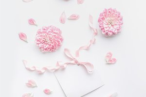 Pink white mock up for greeting card