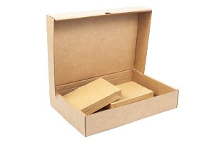 Brown paper box open.