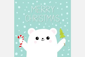 Merry Christmas Bear Candy cane Tree