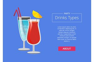 Party Drink Types Web Advertising Poster Alcohol