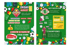 Vector posters for soccer club game