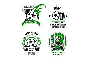 Vector icons for soccer football sport pub