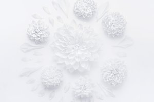 White flowers round composition
