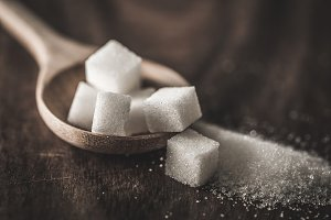 sugar cubes and cane