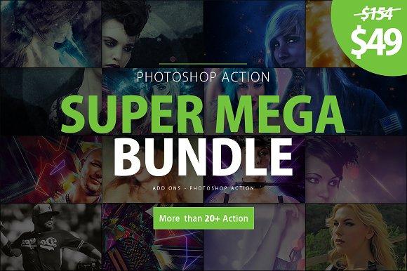 super mega bundle photoshop action actions creative market