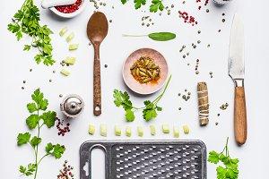 Layout healthy eating ingredients
