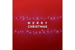Christmas glowing lights, Xmas background with bright realistic garlands.