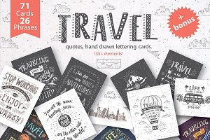 Travel hand drawn cards.
