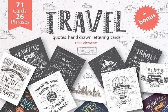 Travel hand drawn cards.-Graphicriver中文最全的素材分享平台