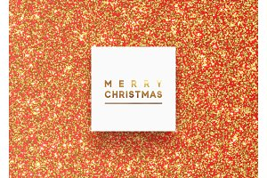 Christmas background with gold bright shiny round dot, sparkles glitter particles.