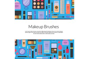 Vector illustration with ribbon flat style makeup and skincare background and text