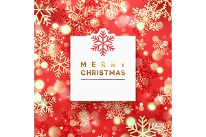 Christmas background with shining gold and red snowflakes.
