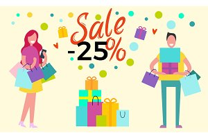 Sale -25% Happy People on Vector Illustration