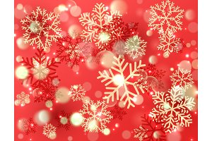 Christmas background with shining gold and red snowflakes. Winter vector Illustration