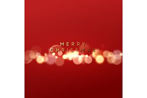 Christmas red background with golden lights bokeh. Xmas greeting card. Magic holiday poster, banner