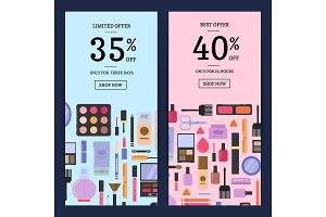 Vector sale banners makeup and skincare in flat style backgrounds
