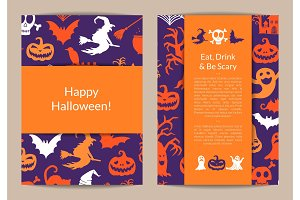 Vector halloween card templates with witches, pumpkins, ghosts, spiders silhouettes