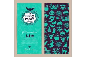 Vector halloween party thin invitation card template