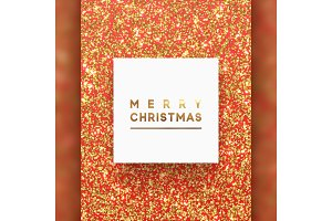 Christmas background with gold bright shiny round dot, sparkle glitter particles.