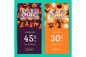 Vector halloween sale banner templates with witches, pumpkins, ghosts, spiders silhouettes