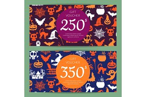 Vector halloween gift card or voucher templates