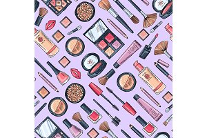 Vector hand drawn makeup products pattern or background