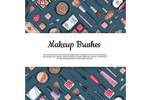 Vector hand drawn makeup products background