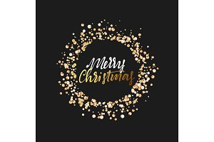 Merry Christmas greeting card. Design round frame from rhinestones, iridescent sequins, gems isolated on black background
