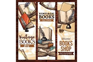 Vector sketch banners for old vintage books library