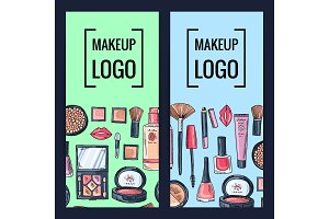 Vector makeup brand banners or flyers with hand drawn