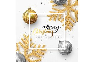 Christmas background with shining gold snowflakes and glowing bright balls.
