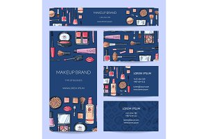 Vector beauty or makeup brand identity set with banner
