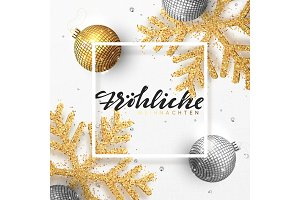 German text Frohliche Weihnachten. Christmas background with shining gold snowflakes and glowing bright balls.