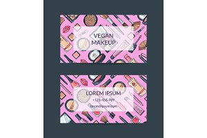 Vector business card template for beauty brand or makeup