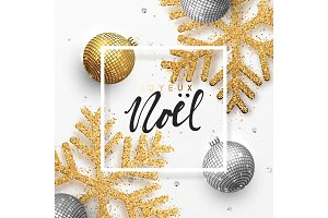 French text Joyeux Noel. Christmas background with shining gold snowflakes and glowing bright balls.