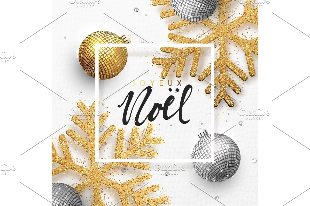 Joyeux Noel Audio.French Text Joyeux Noel Christmas Background With Shining Gold Snowflakes And Glowing Bright Balls
