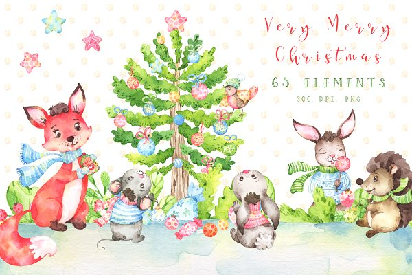 Very Merry Christmas Watercolor set