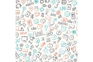Vector pattern background with social media hand drawn elements