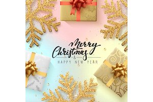 Christmas background with shining gold snowflakes and gift box