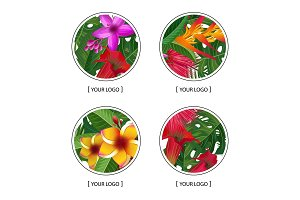 Vector tropical palm leaves and exotic flower elements round logo symbols set