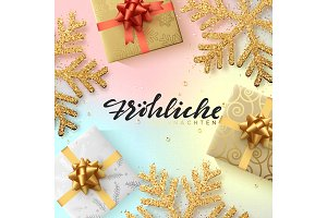 German text Frohliche Weihnachten. Christmas background with shining gold snowflakes and gift box