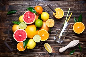 Citrus fruits and juice concept